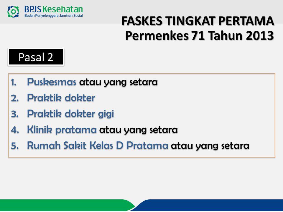 FASKES TINGKAT PERTAMA Permenkes 71 Tahun 2013