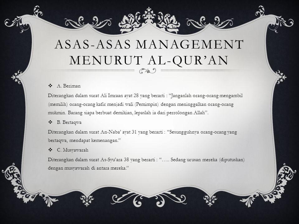 Asas-asas Management menurut Al-Qur'an