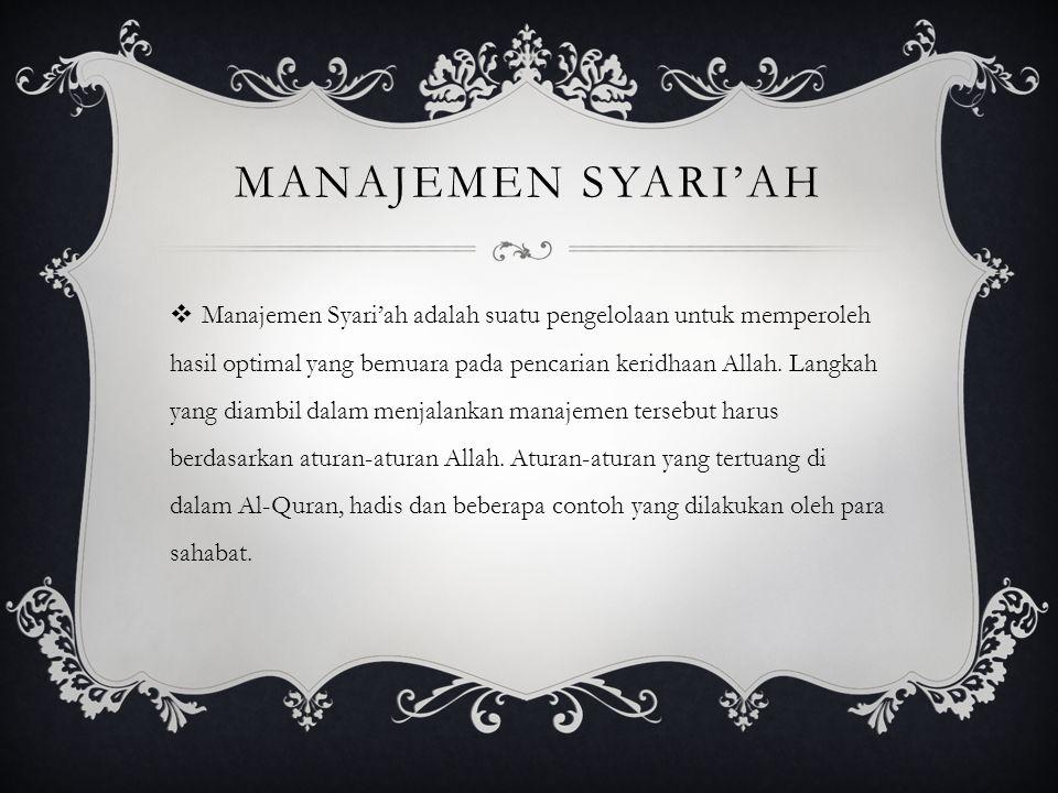 Manajemen Syari'ah