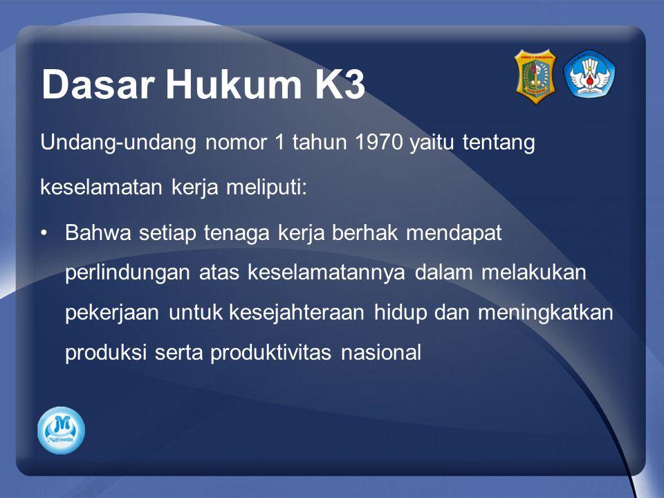 Dasar Hukum K3 Undang-undang nomor 1 tahun 1970 yaitu tentang