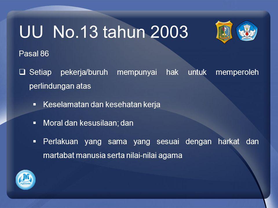 UU No.13 tahun 2003 Pasal 86. Setiap pekerja/buruh mempunyai hak untuk memperoleh perlindungan atas.