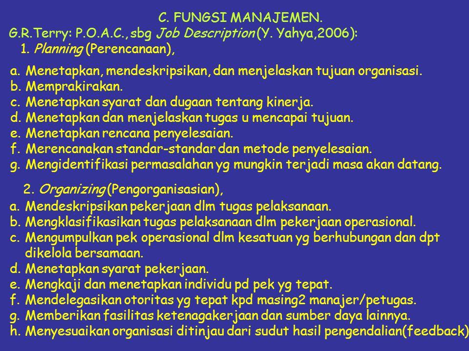 C. FUNGSI MANAJEMEN. G.R.Terry: P.O.A.C., sbg Job Description (Y. Yahya,2006): 1. Planning (Perencanaan),