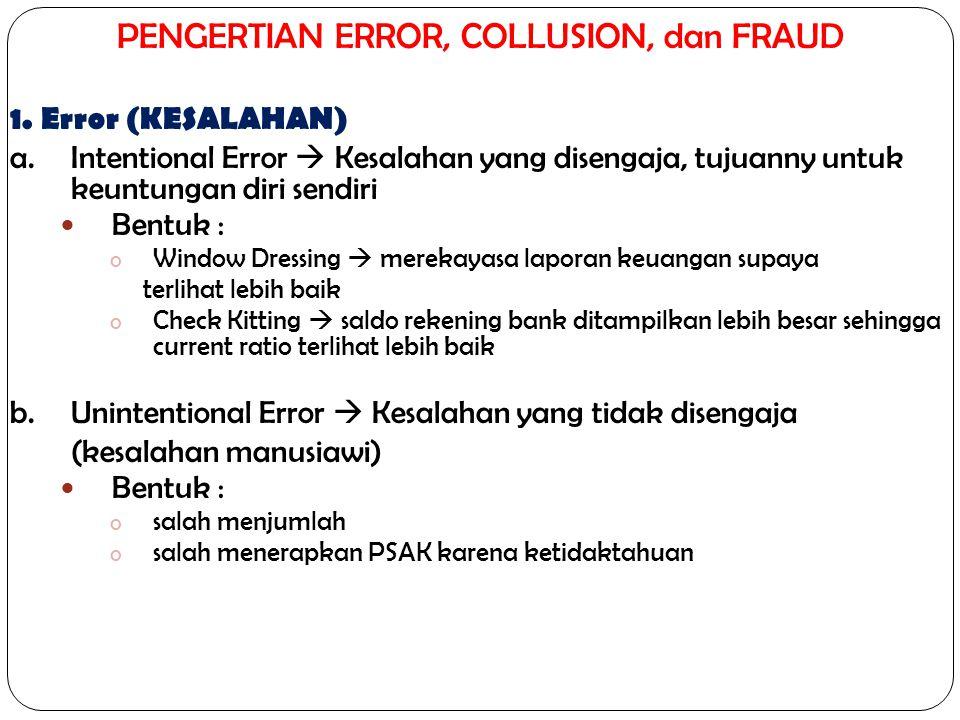 PENGERTIAN ERROR, COLLUSION, dan FRAUD