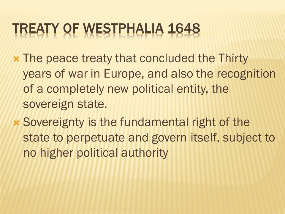 TREATY OF WESTPHALIA 1648