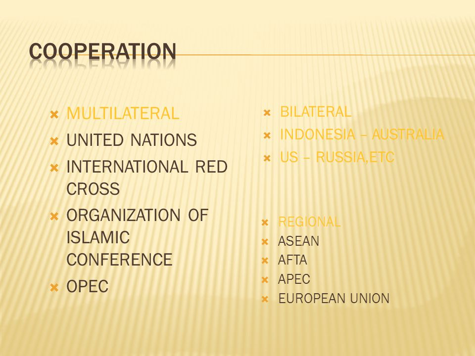 COOPERATION MULTILATERAL UNITED NATIONS INTERNATIONAL RED CROSS