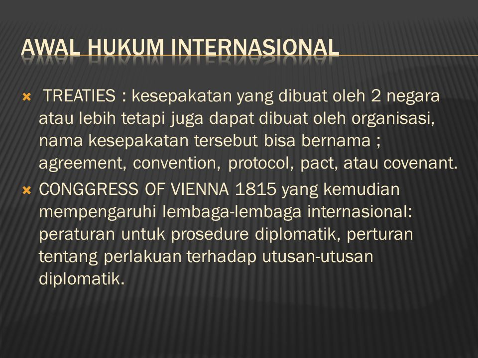 Awal Hukum Internasional