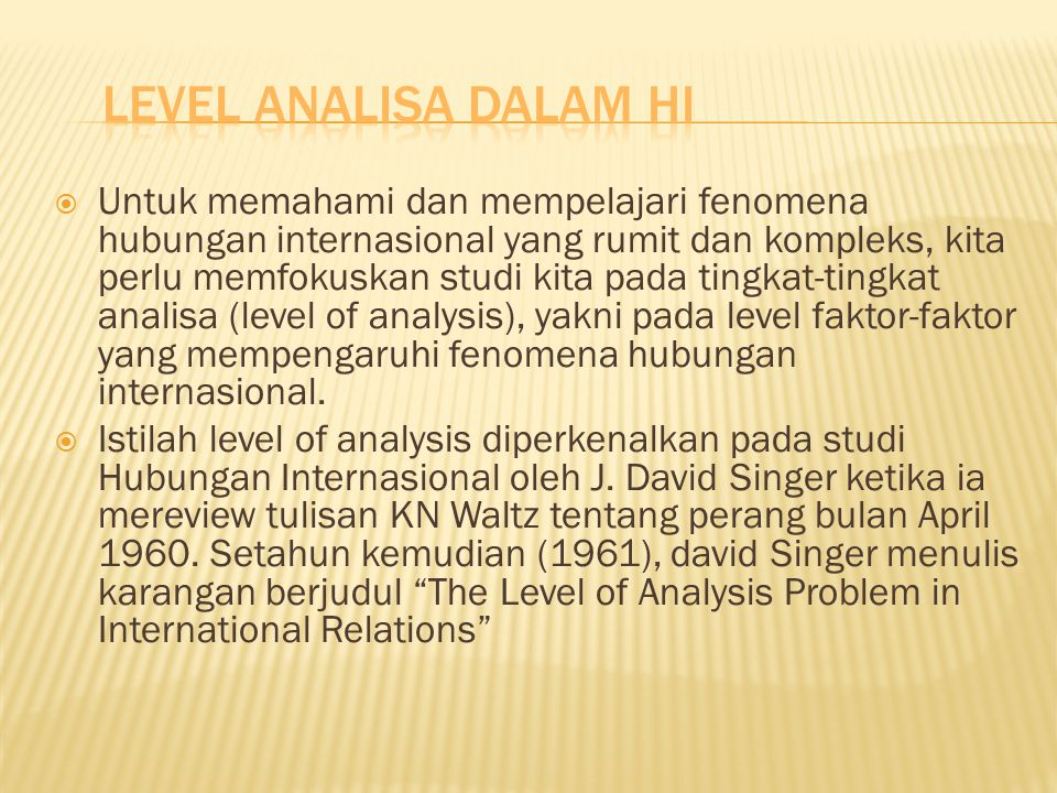 Level Analisa dalam HI