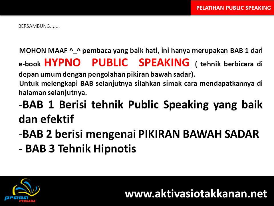 BAB 1 Berisi tehnik Public Speaking yang baik dan efektif