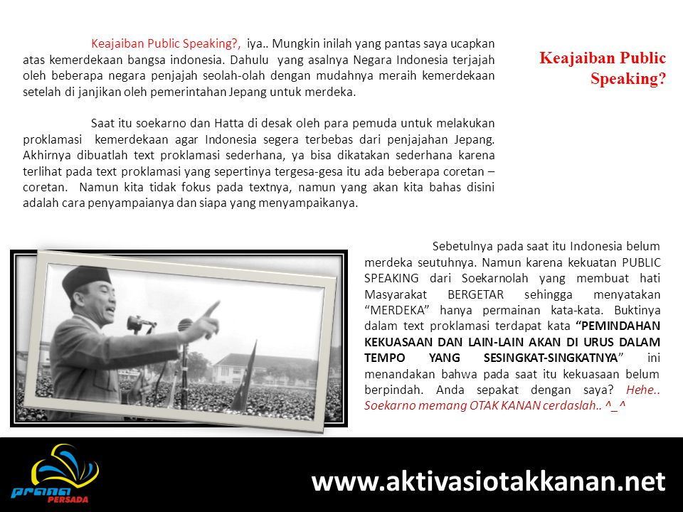 www.aktivasiotakkanan.net Keajaiban Public Speaking
