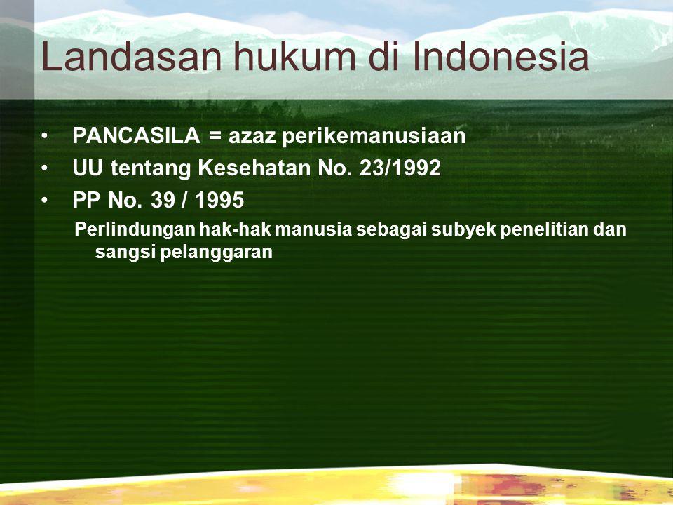 Landasan hukum di Indonesia