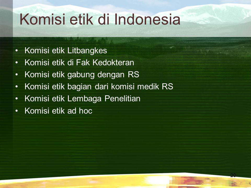 Komisi etik di Indonesia
