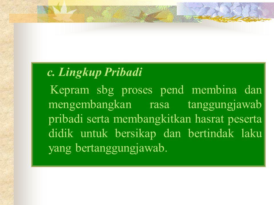 c. Lingkup Pribadi