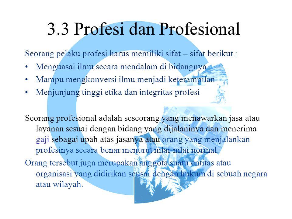 3.3 Profesi dan Profesional