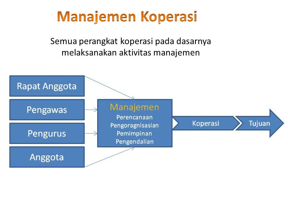Manajemen Koperasi Semua perangkat koperasi pada dasarnya melaksanakan aktivitas manajemen