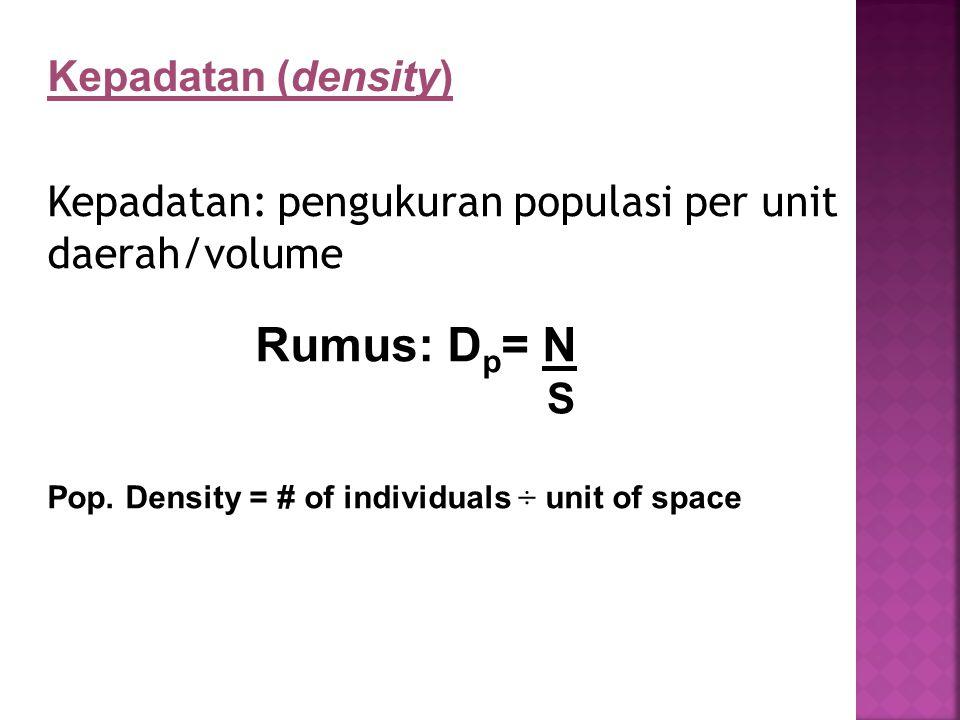 Rumus: Dp= N Kepadatan (density)