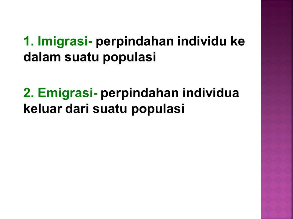 1. Imigrasi- perpindahan individu ke dalam suatu populasi