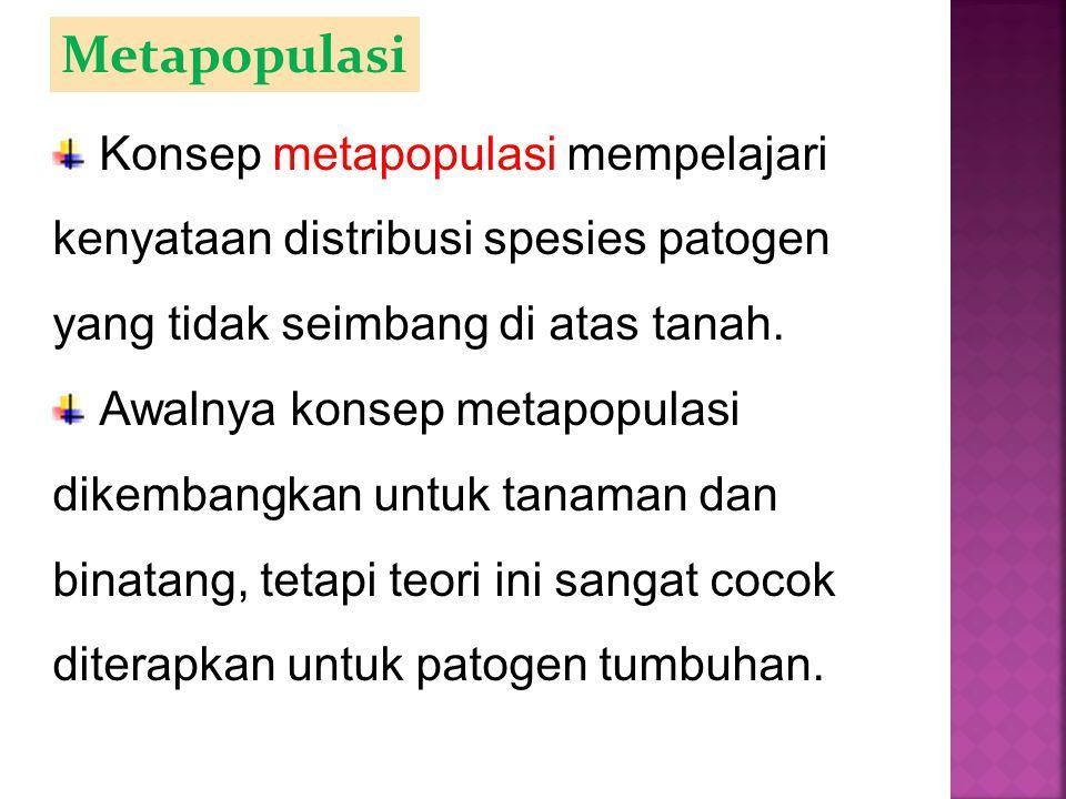 Metapopulasi Konsep metapopulasi mempelajari kenyataan distribusi spesies patogen yang tidak seimbang di atas tanah.