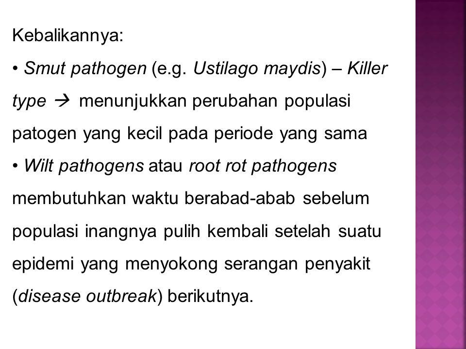 Kebalikannya: Smut pathogen (e.g. Ustilago maydis) – Killer type  menunjukkan perubahan populasi patogen yang kecil pada periode yang sama.