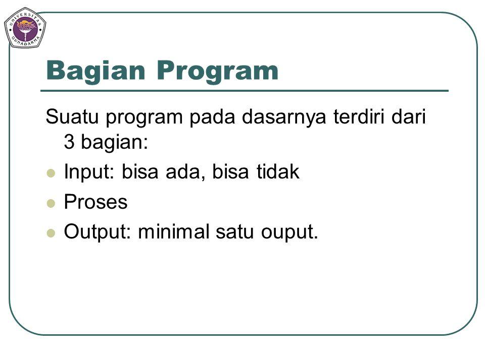 Bagian Program Suatu program pada dasarnya terdiri dari 3 bagian: