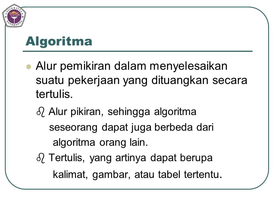 Algoritma Alur pemikiran dalam menyelesaikan suatu pekerjaan yang dituangkan secara tertulis.  Alur pikiran, sehingga algoritma.