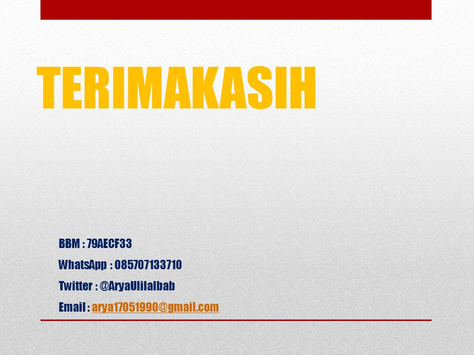 TERIMAKASIH BBM : 79AECF33 WhatsApp : 085707133710