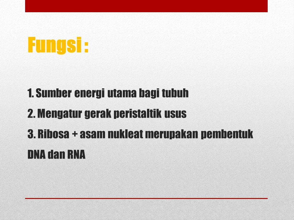 Fungsi : 1. Sumber energi utama bagi tubuh 2