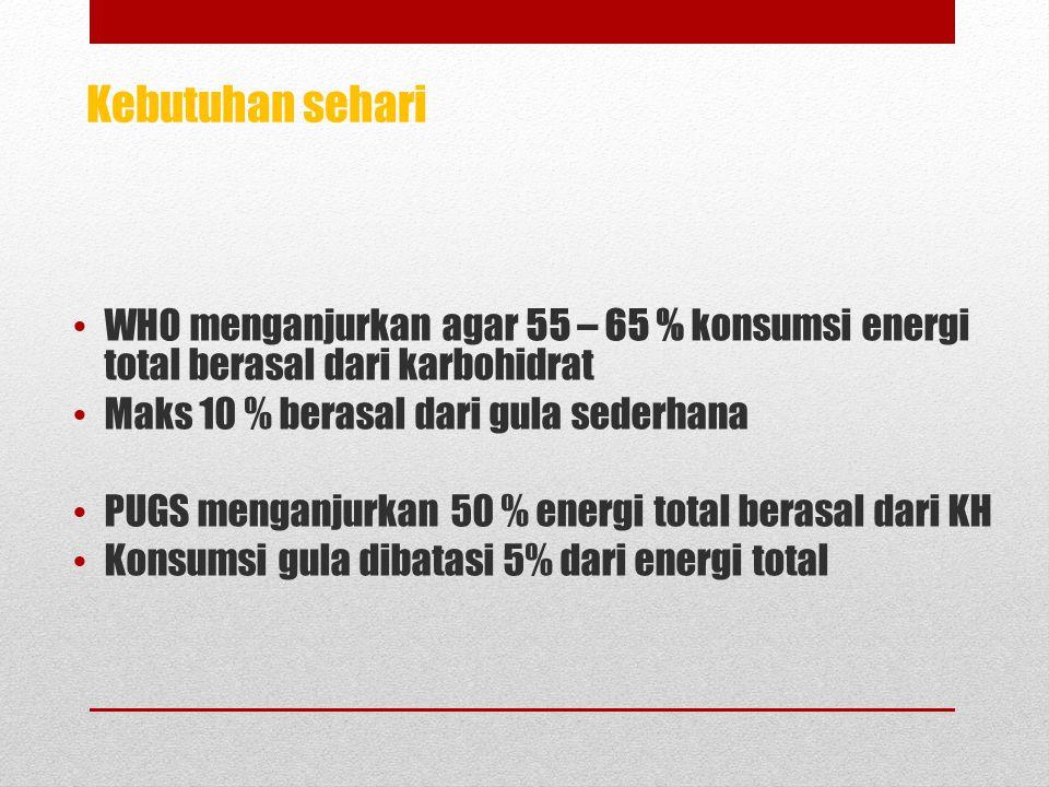 Kebutuhan sehari WHO menganjurkan agar 55 – 65 % konsumsi energi total berasal dari karbohidrat. Maks 10 % berasal dari gula sederhana.