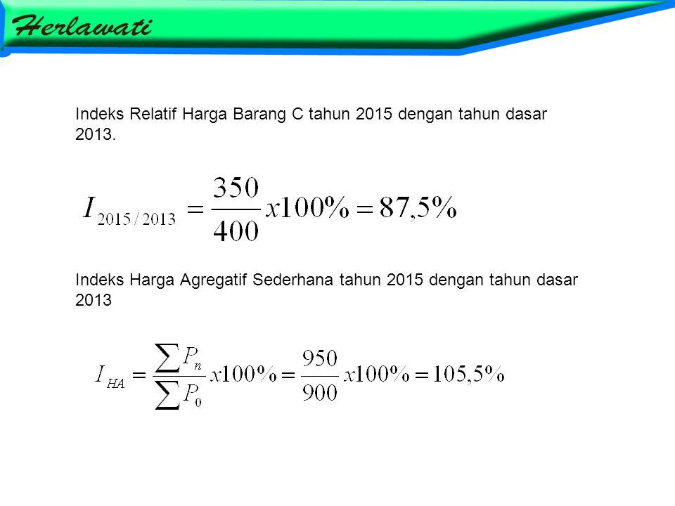 Indeks Relatif Harga Barang C tahun 2015 dengan tahun dasar 2013.