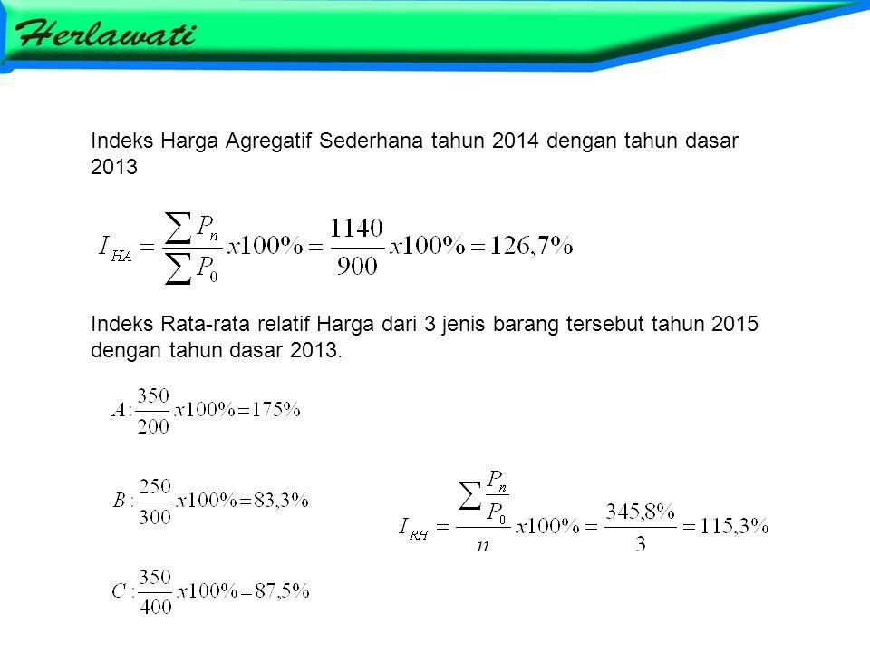 Indeks Harga Agregatif Sederhana tahun 2014 dengan tahun dasar 2013