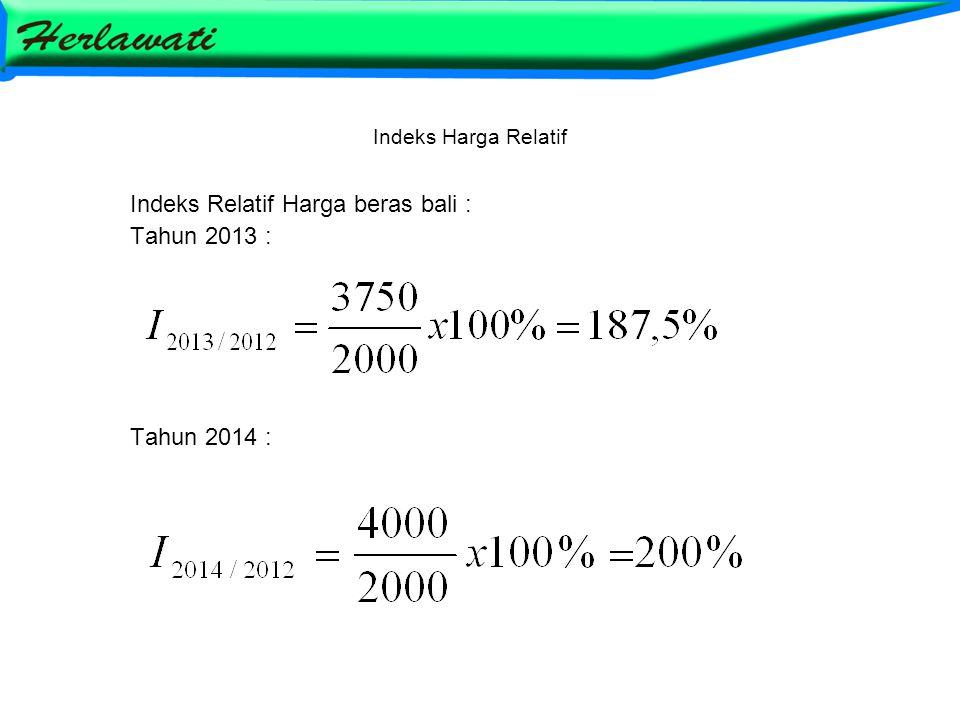 Indeks Relatif Harga beras bali : Tahun 2013 : Tahun 2014 :