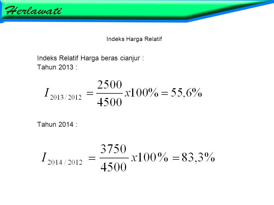Indeks Relatif Harga beras cianjur : Tahun 2013 : Tahun 2014 :