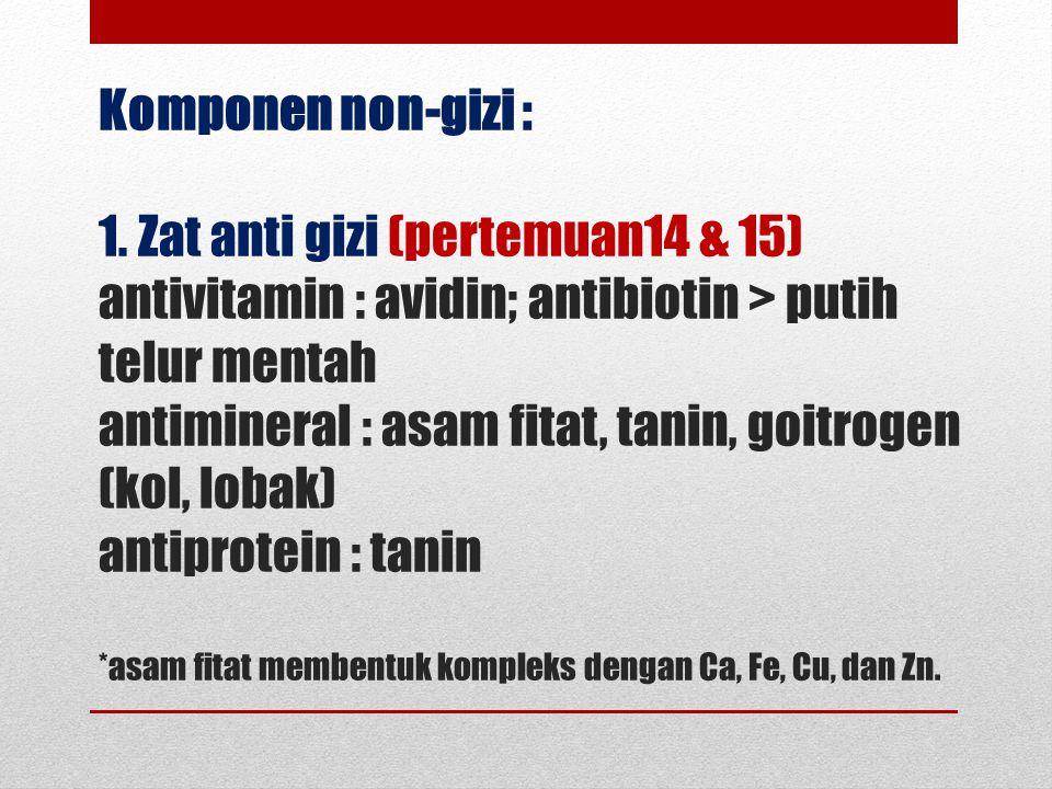 Komponen non-gizi : 1.