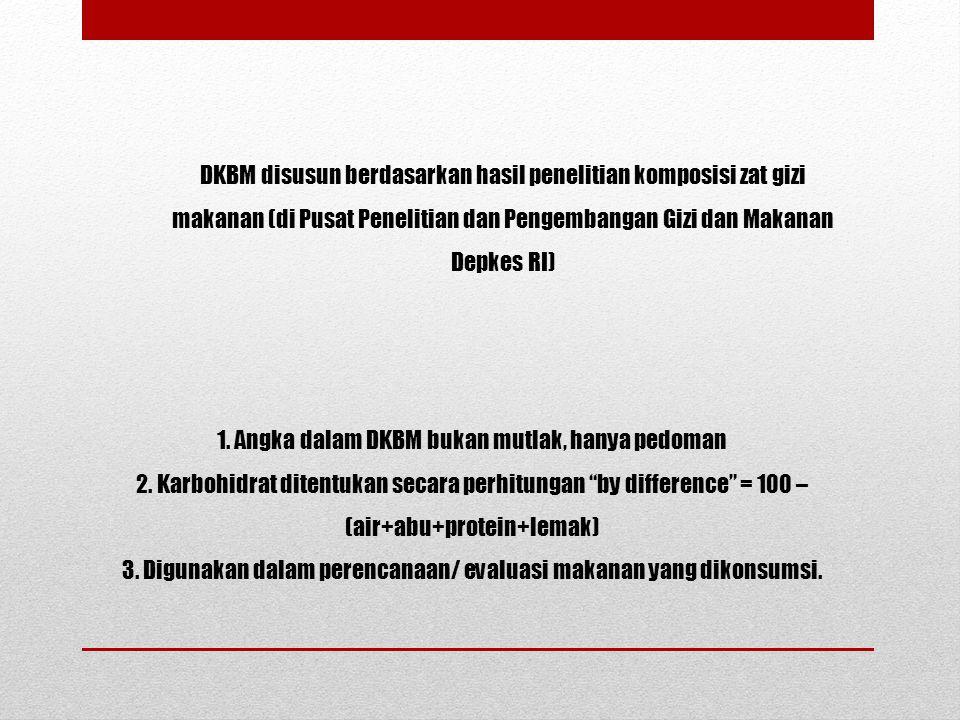 DKBM disusun berdasarkan hasil penelitian komposisi zat gizi makanan (di Pusat Penelitian dan Pengembangan Gizi dan Makanan Depkes RI)