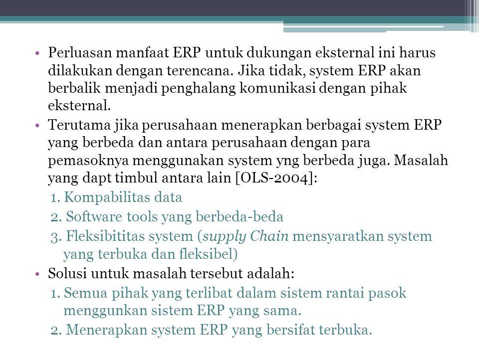 Perluasan manfaat ERP untuk dukungan eksternal ini harus dilakukan dengan terencana. Jika tidak, system ERP akan berbalik menjadi penghalang komunikasi dengan pihak eksternal.