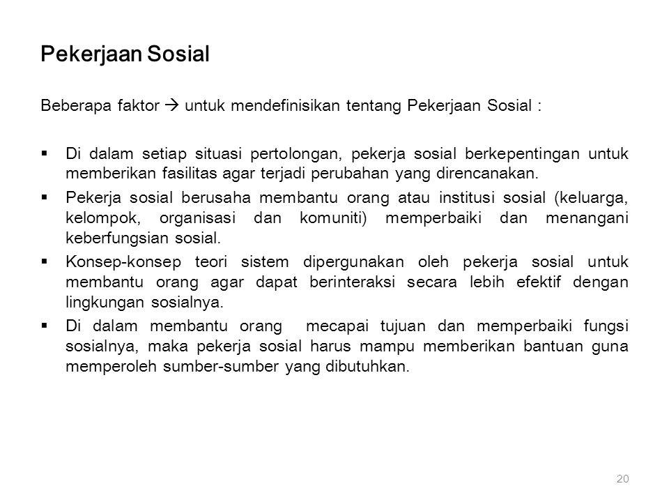 Pekerjaan Sosial Beberapa faktor  untuk mendefinisikan tentang Pekerjaan Sosial :