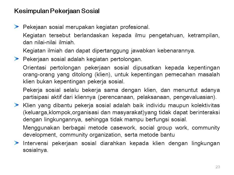 Kesimpulan Pekerjaan Sosial