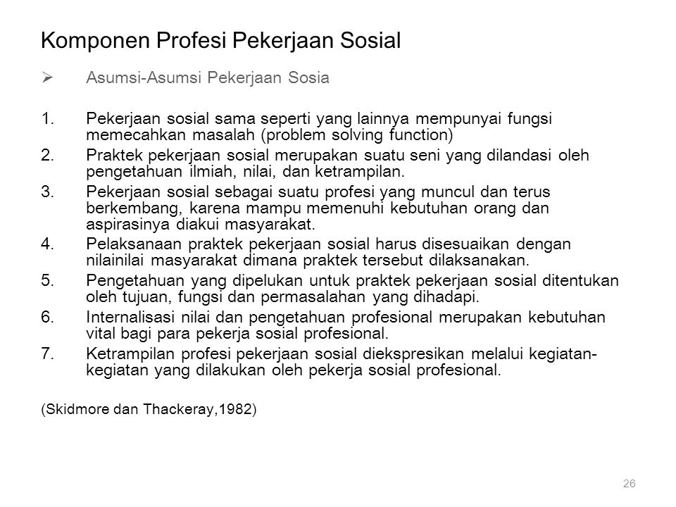 Komponen Profesi Pekerjaan Sosial