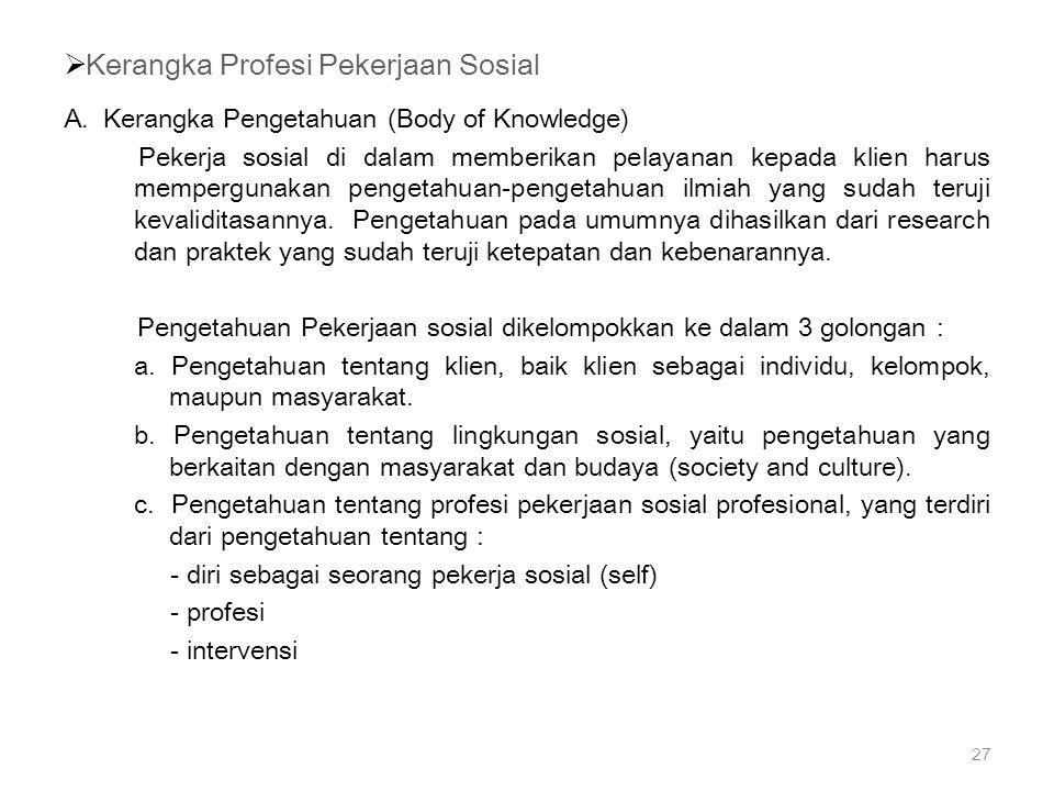 Kerangka Profesi Pekerjaan Sosial