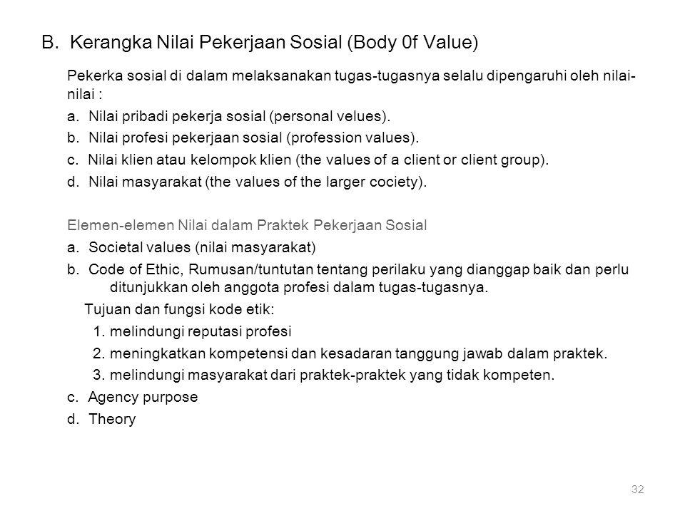 B. Kerangka Nilai Pekerjaan Sosial (Body 0f Value)