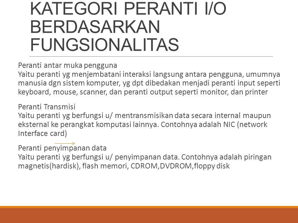 KATEGORI PERANTI I/O BERDASARKAN FUNGSIONALITAS