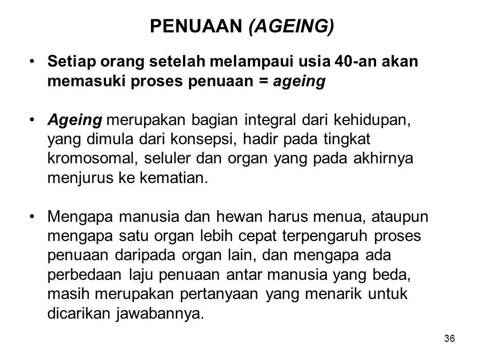 PENUAAN (AGEING) Setiap orang setelah melampaui usia 40-an akan