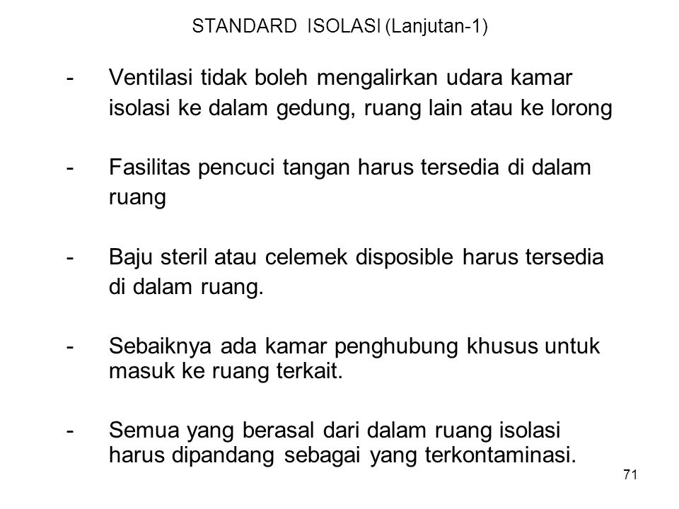 STANDARD ISOLASI (Lanjutan-1)