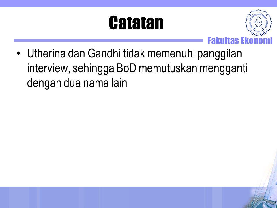 Catatan Utherina dan Gandhi tidak memenuhi panggilan interview, sehingga BoD memutuskan mengganti dengan dua nama lain.
