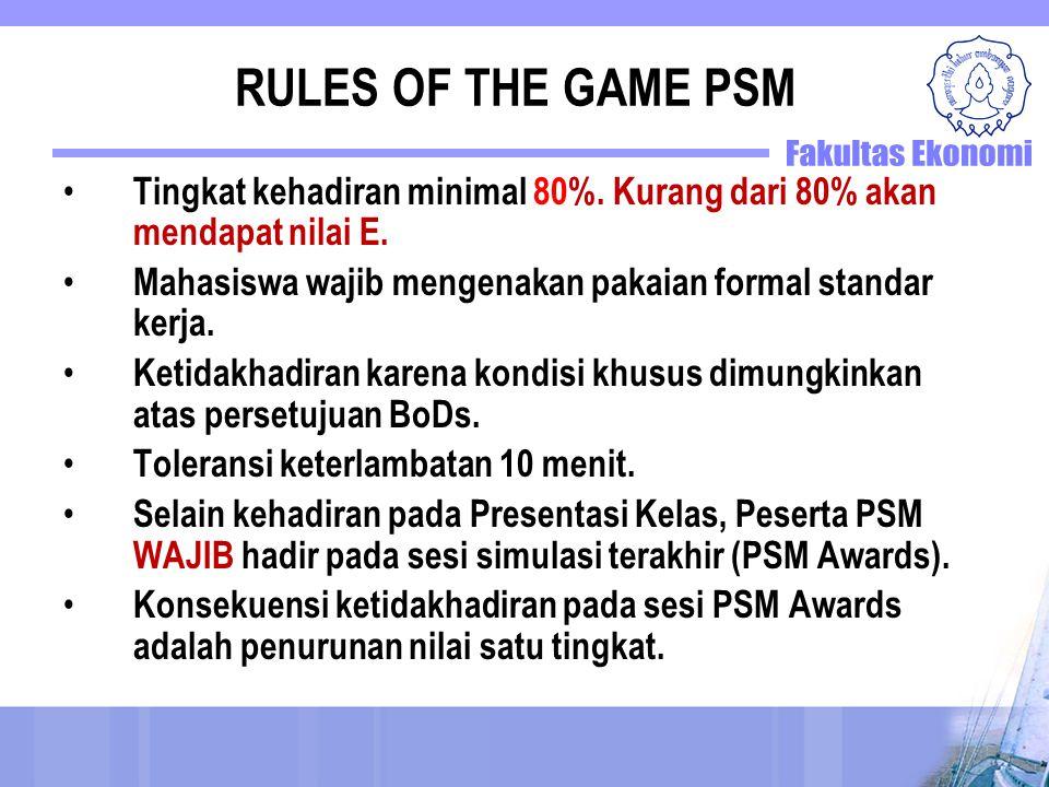 RULES OF THE GAME PSM Tingkat kehadiran minimal 80%. Kurang dari 80% akan mendapat nilai E. Mahasiswa wajib mengenakan pakaian formal standar kerja.