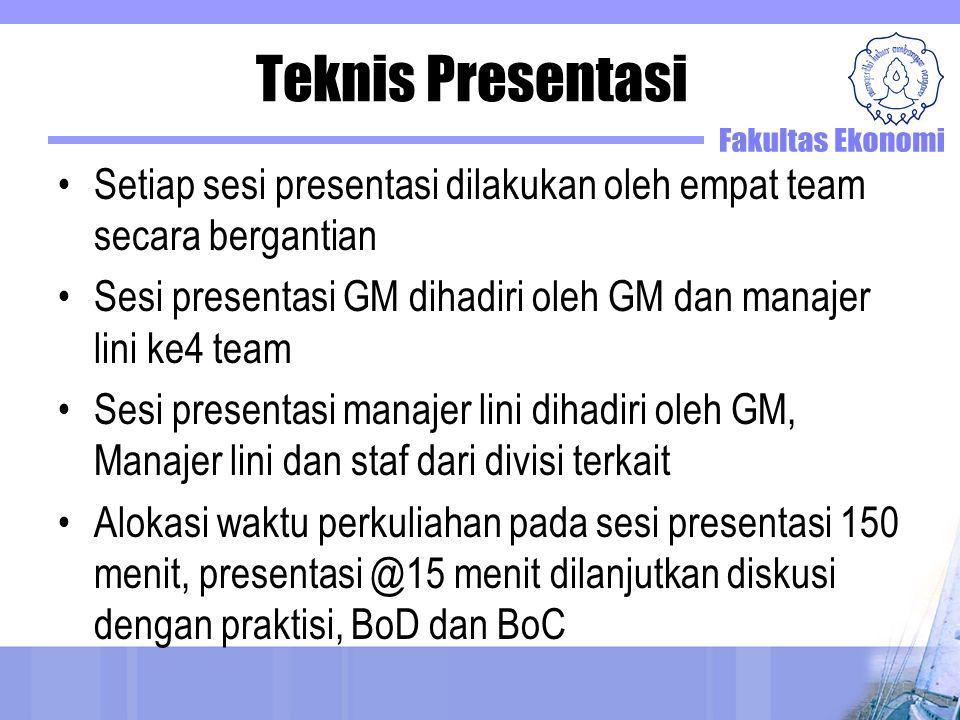 Teknis Presentasi Setiap sesi presentasi dilakukan oleh empat team secara bergantian. Sesi presentasi GM dihadiri oleh GM dan manajer lini ke4 team.