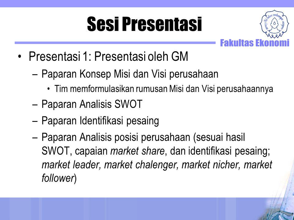 Sesi Presentasi Presentasi 1: Presentasi oleh GM