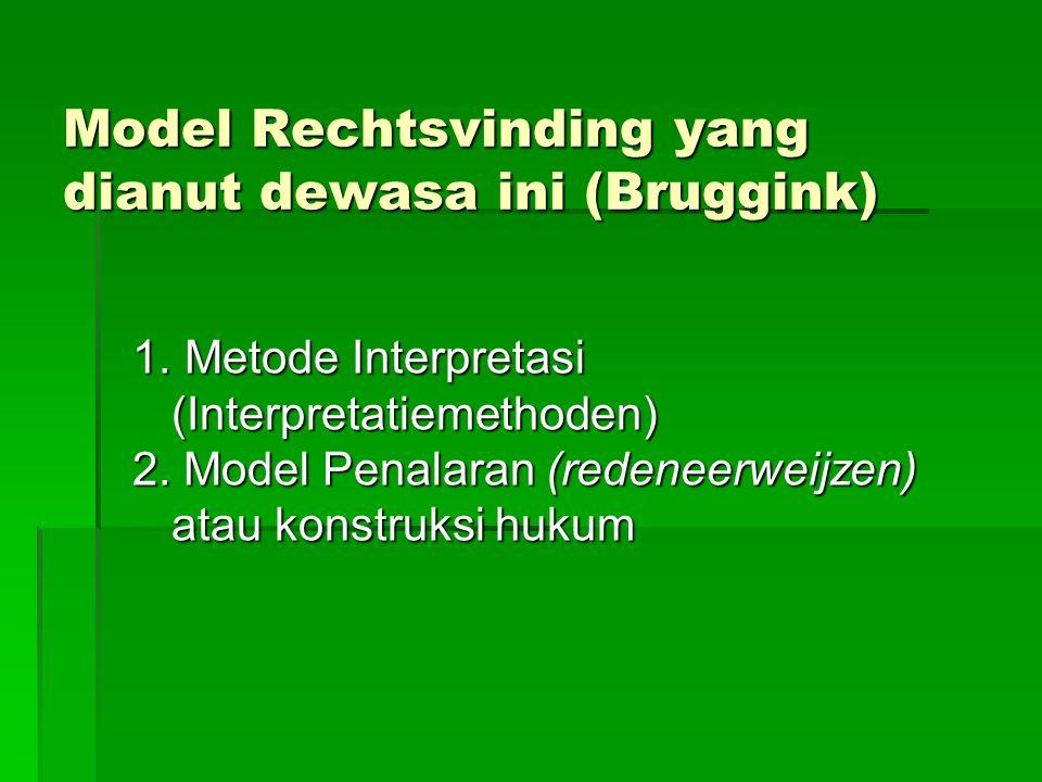 Model Rechtsvinding yang dianut dewasa ini (Bruggink)