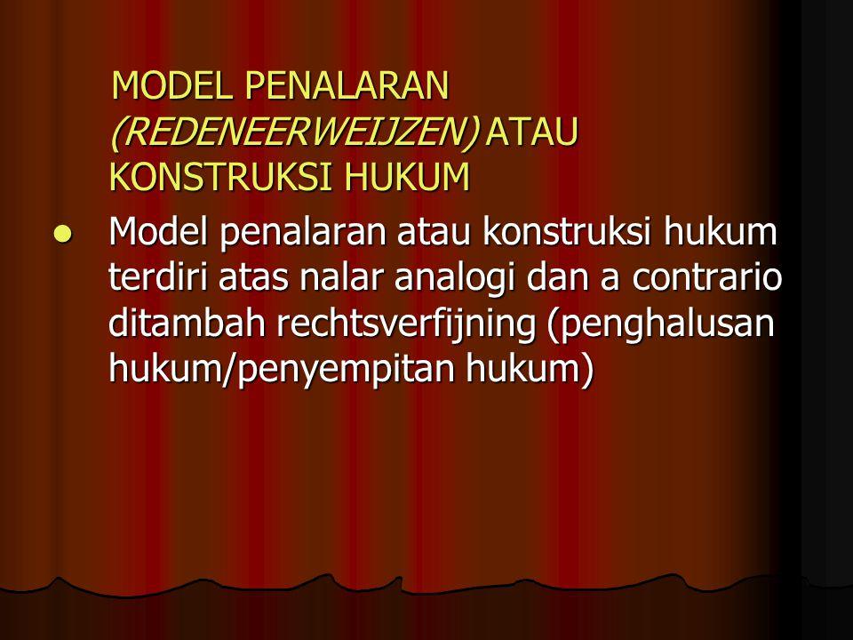 MODEL PENALARAN (REDENEERWEIJZEN) ATAU KONSTRUKSI HUKUM