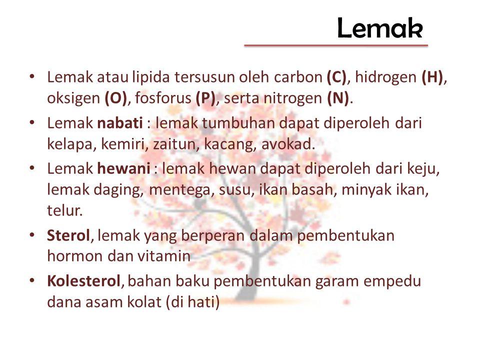 Lemak Lemak atau lipida tersusun oleh carbon (C), hidrogen (H), oksigen (O), fosforus (P), serta nitrogen (N).