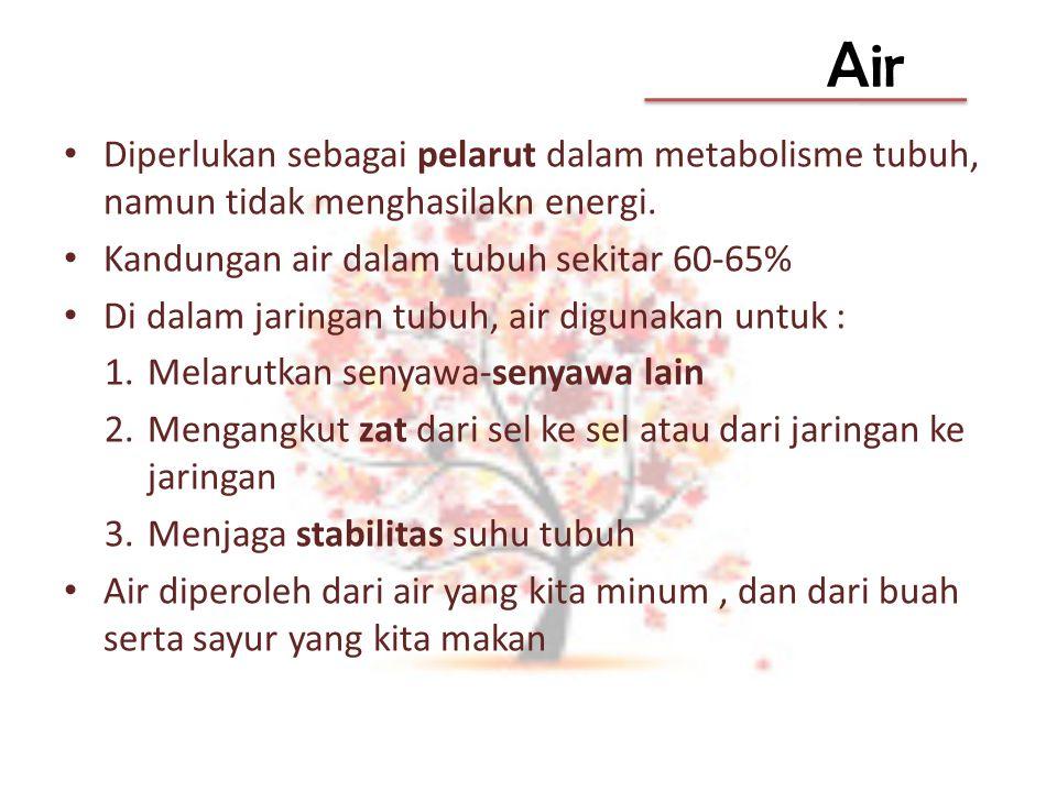 Air Diperlukan sebagai pelarut dalam metabolisme tubuh, namun tidak menghasilakn energi. Kandungan air dalam tubuh sekitar 60-65%